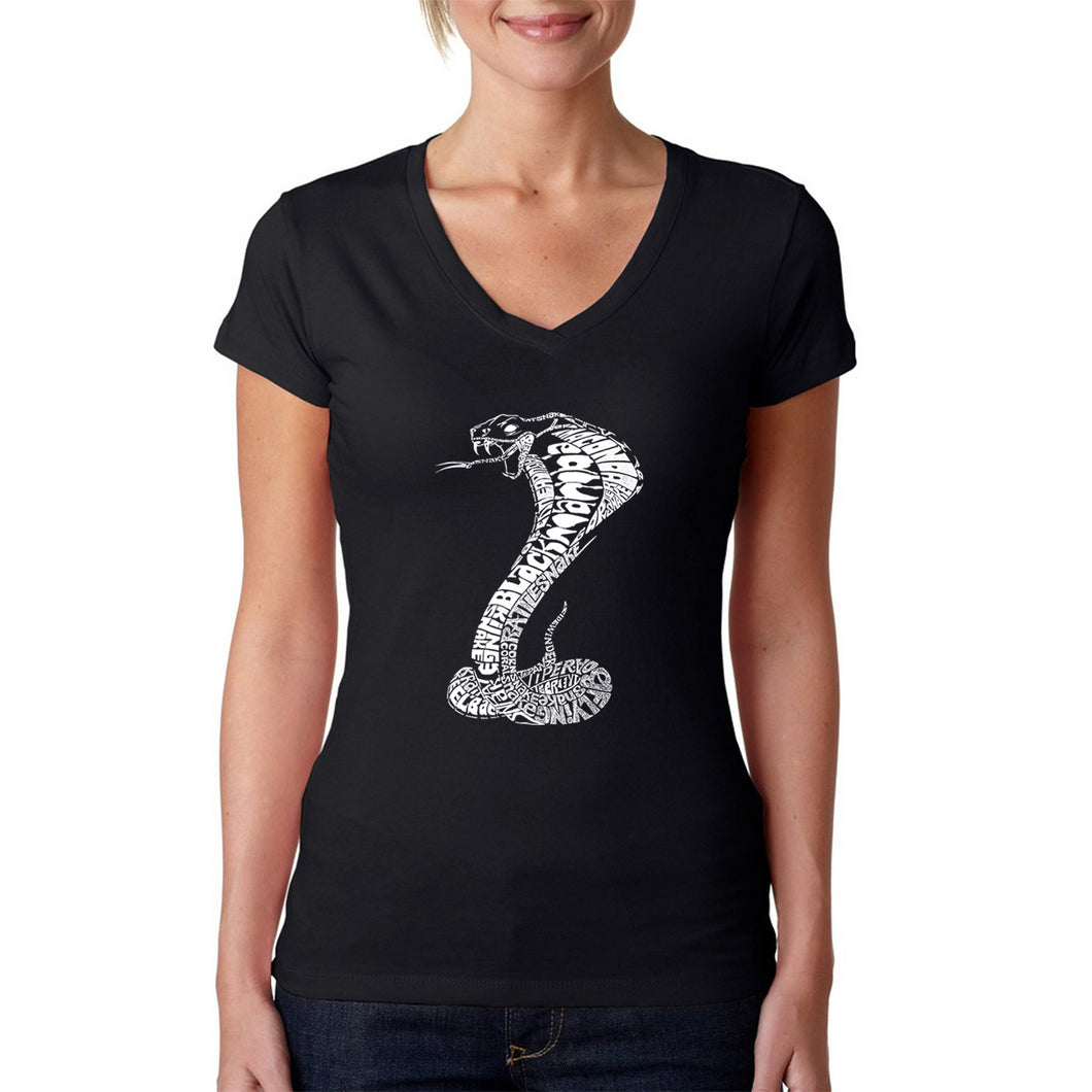 LA Pop Art  Women's Word Art V-Neck T-Shirt - Types of Snakes