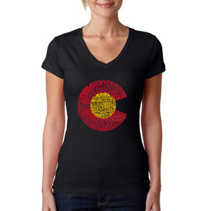 LA Pop Art Women's Word Art V-Neck T-Shirt - Colorado