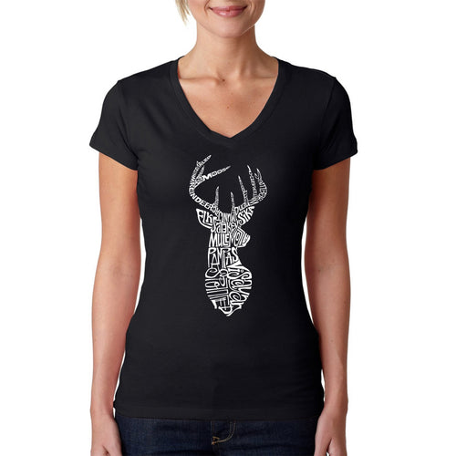 LA Pop Art Women's Word Art V-Neck T-Shirt - Types of Deer