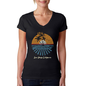 LA Pop Art Women's Word Art V-Neck T-Shirt - Cities In San Diego