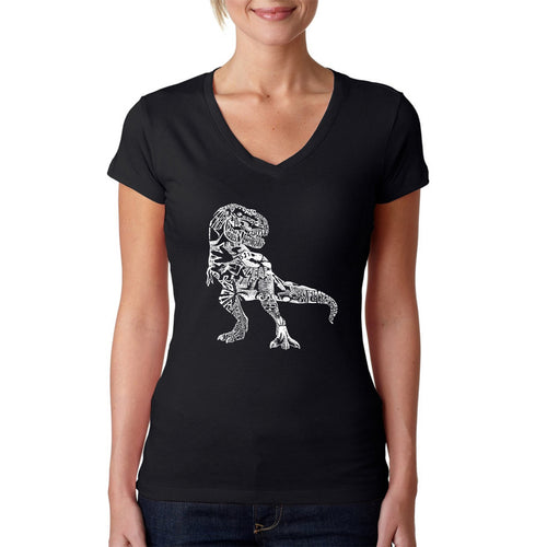 LA Pop Art Women's Word Art V-Neck T-Shirt - Dino Pics