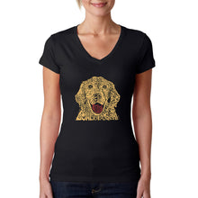 Load image into Gallery viewer, LA Pop Art Women's Word Art V-Neck T-Shirt - Dog