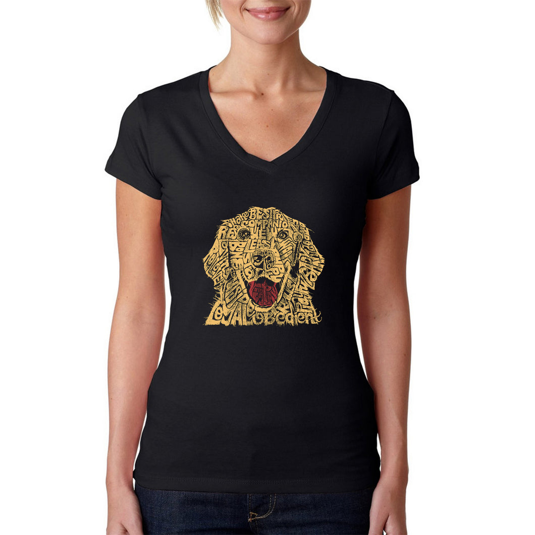 LA Pop Art Women's Word Art V-Neck T-Shirt - Dog