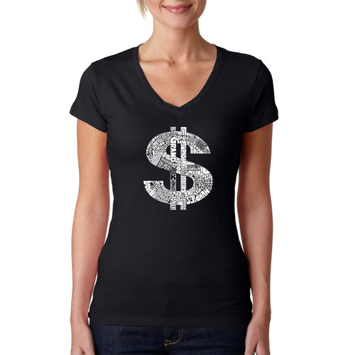 LA Pop Art Women's Word Art V-Neck T-Shirt - Dollar Sign