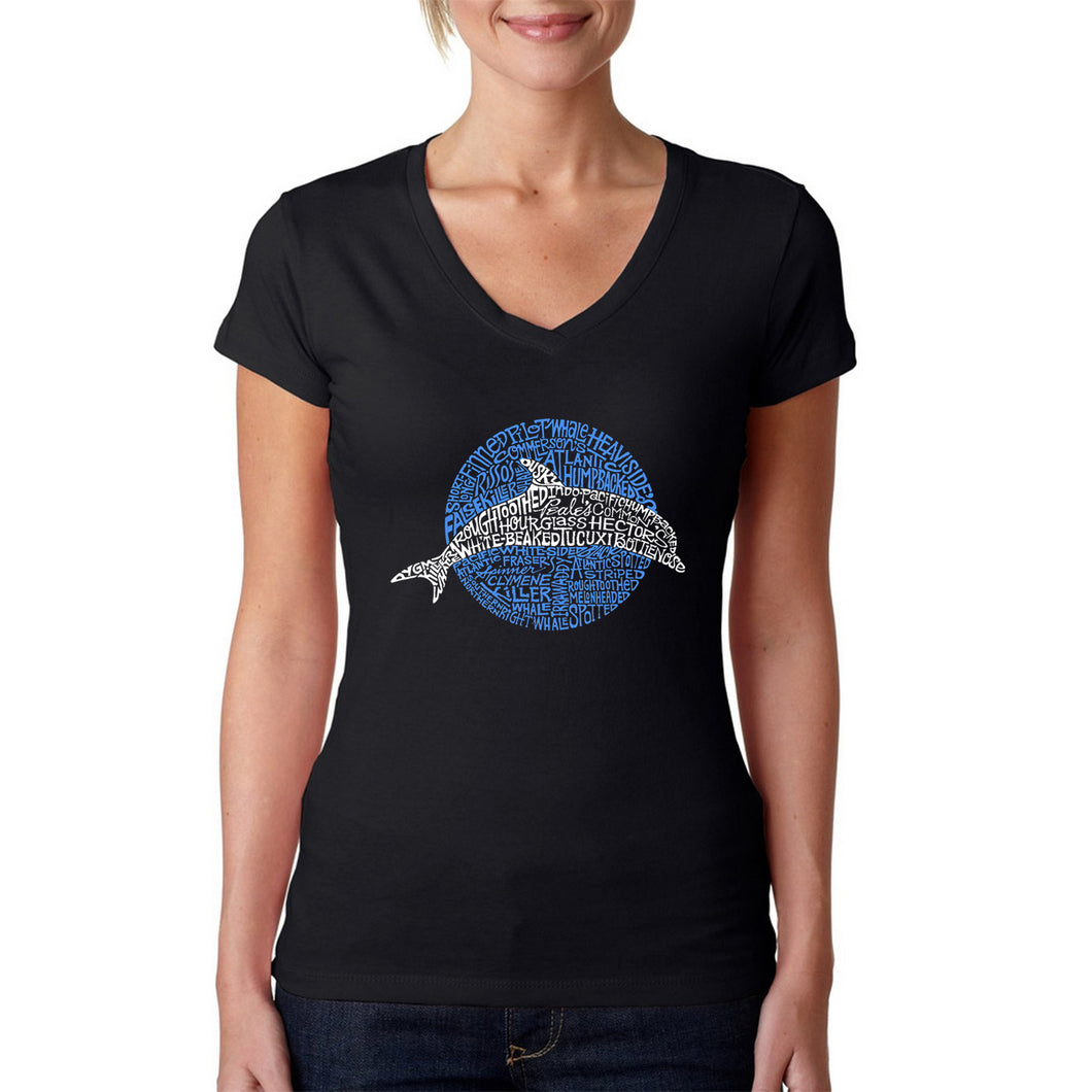 LA Pop Art  Women's Word Art V-Neck T-Shirt - Species of Dolphin