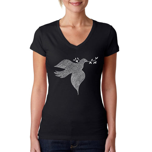 LA Pop Art  Women's Word Art V-Neck T-Shirt - Dove