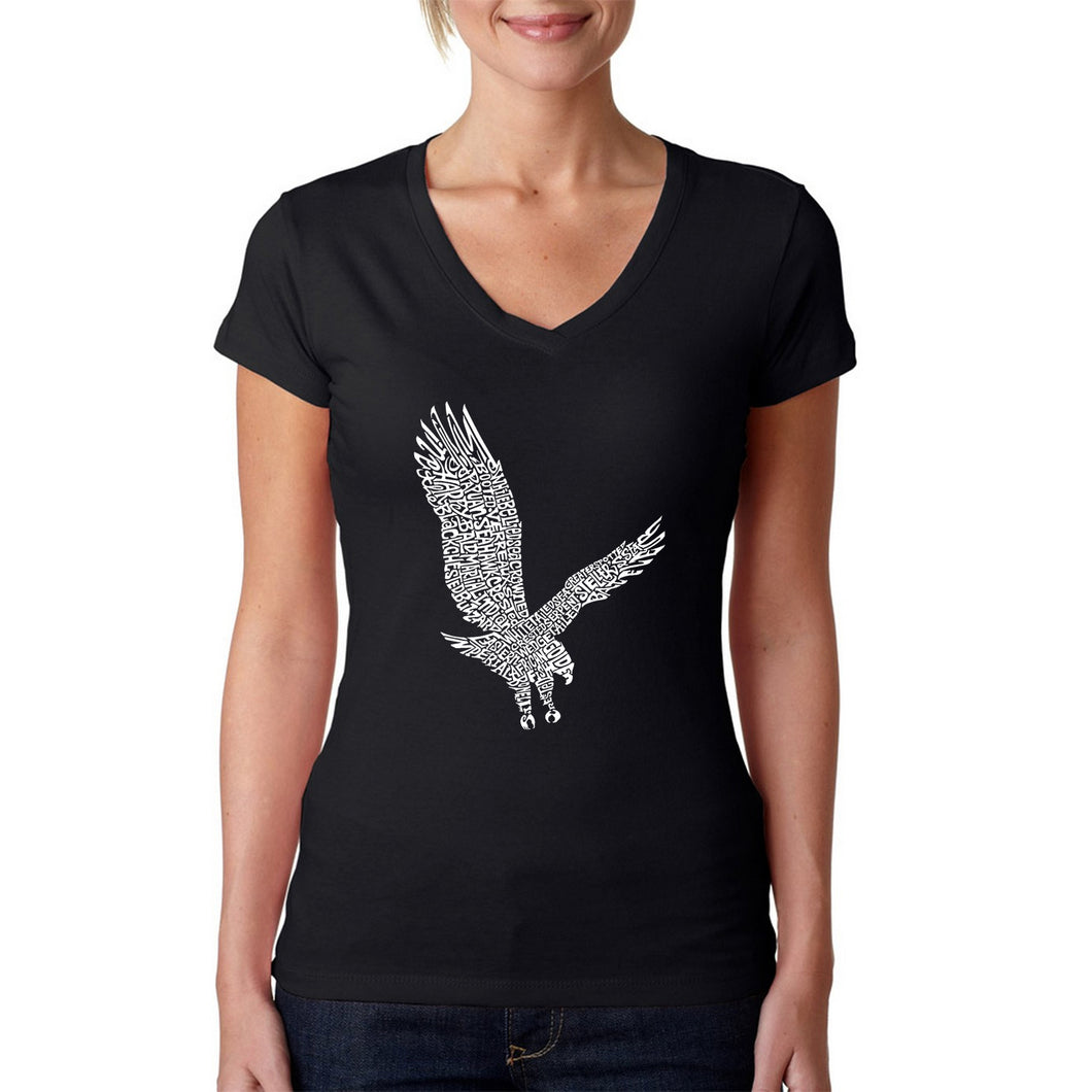 LA Pop Art Women's Word Art V-Neck T-Shirt - Eagle