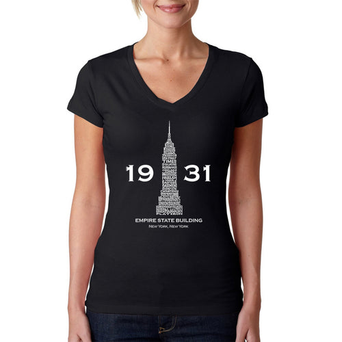 LA Pop Art Women's Word Art V-Neck T-Shirt - Empire State Building