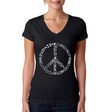 Load image into Gallery viewer, LA Pop Art  Women's Word Art V-Neck T-Shirt - Different Faiths peace sign