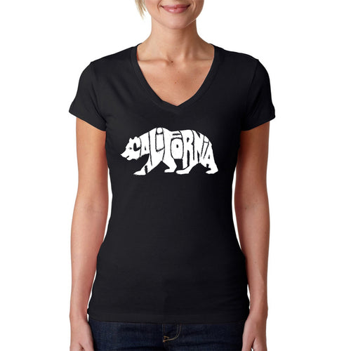 LA Pop Art Women's Word Art V-Neck T-Shirt - California Bear