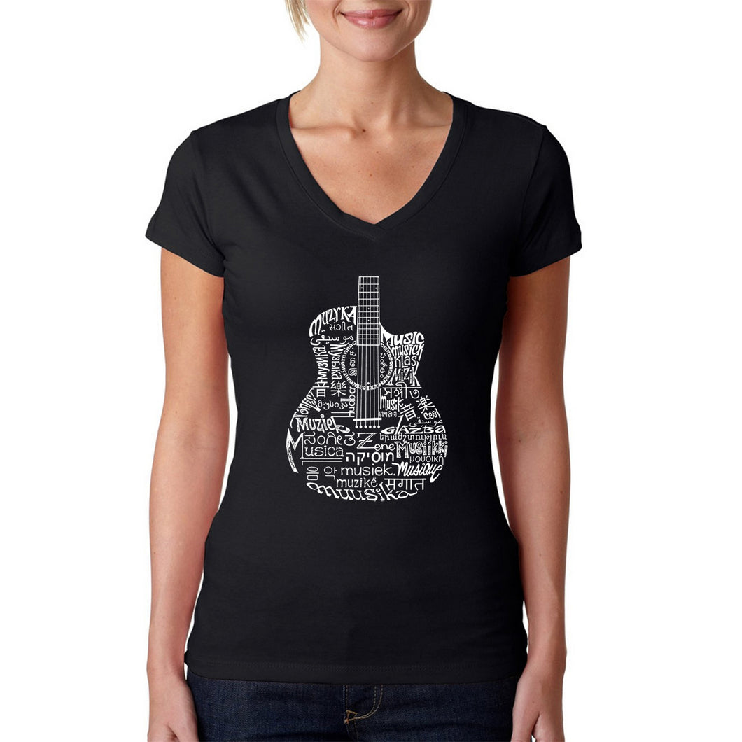 LA Pop Art Women's Word Art V-Neck T-Shirt - Languages Guitar