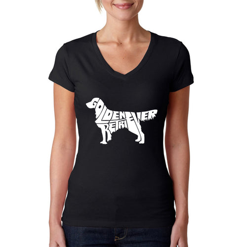 LA Pop Art  Women's Word Art V-Neck T-Shirt - Golden Retreiver