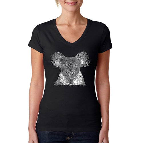 LA Pop Art Women's Word Art V-Neck T-Shirt - Koala