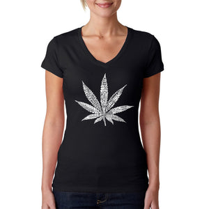 LA Pop Art Women's Word Art V-Neck T-Shirt - 50 DIFFERENT STREET TERMS FOR MARIJUANA