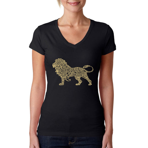 LA Pop Art Women's Word Art V-Neck T-Shirt - Lion