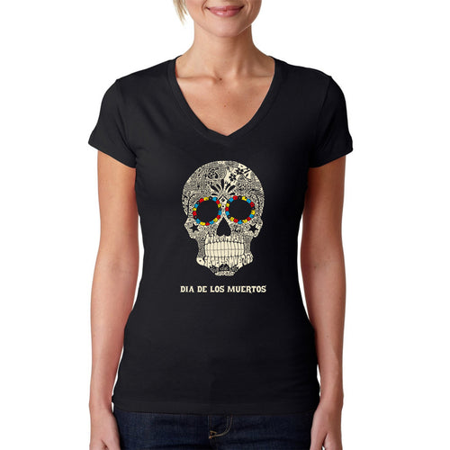 LA Pop Art Women's Word Art V-Neck T-Shirt - Dia De Los Muertos