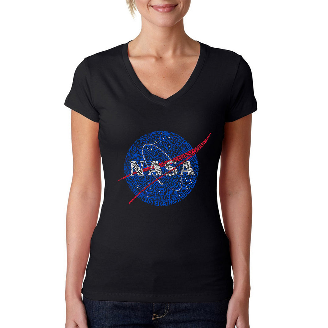 LA Pop Art  Women's Word Art V-Neck T-Shirt - NASA's Most Notable Missions