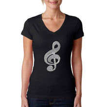 Load image into Gallery viewer, LA Pop Art  Women's Word Art V-Neck T-Shirt - Music Note