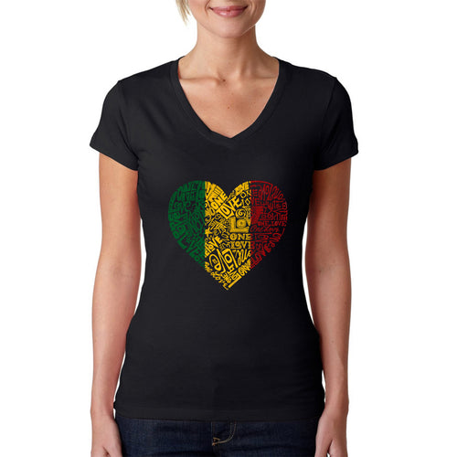 LA Pop Art  Women's Word Art V-Neck T-Shirt - One Love Heart