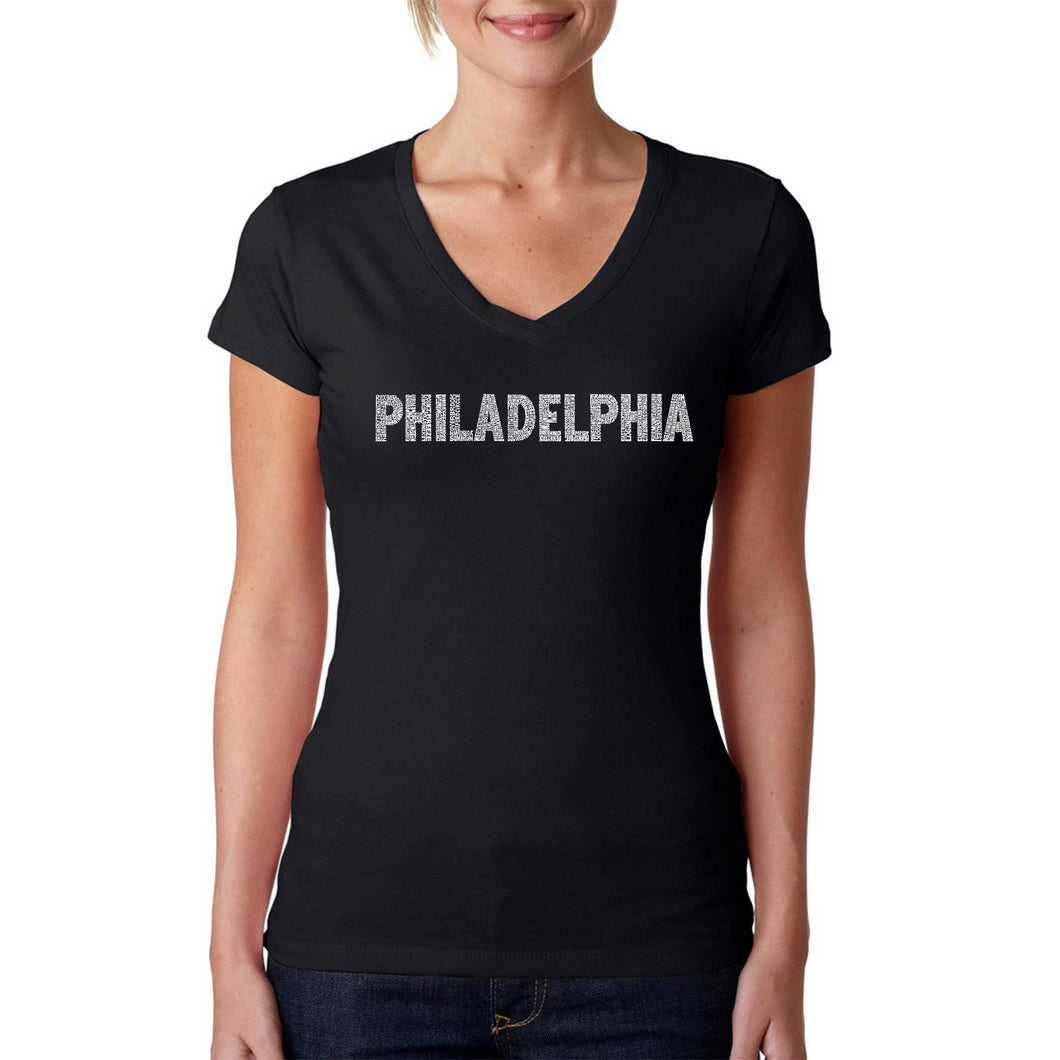 LA Pop Art Women's Word Art V-Neck T-Shirt - PHILADELPHIA NEIGHBORHOODS