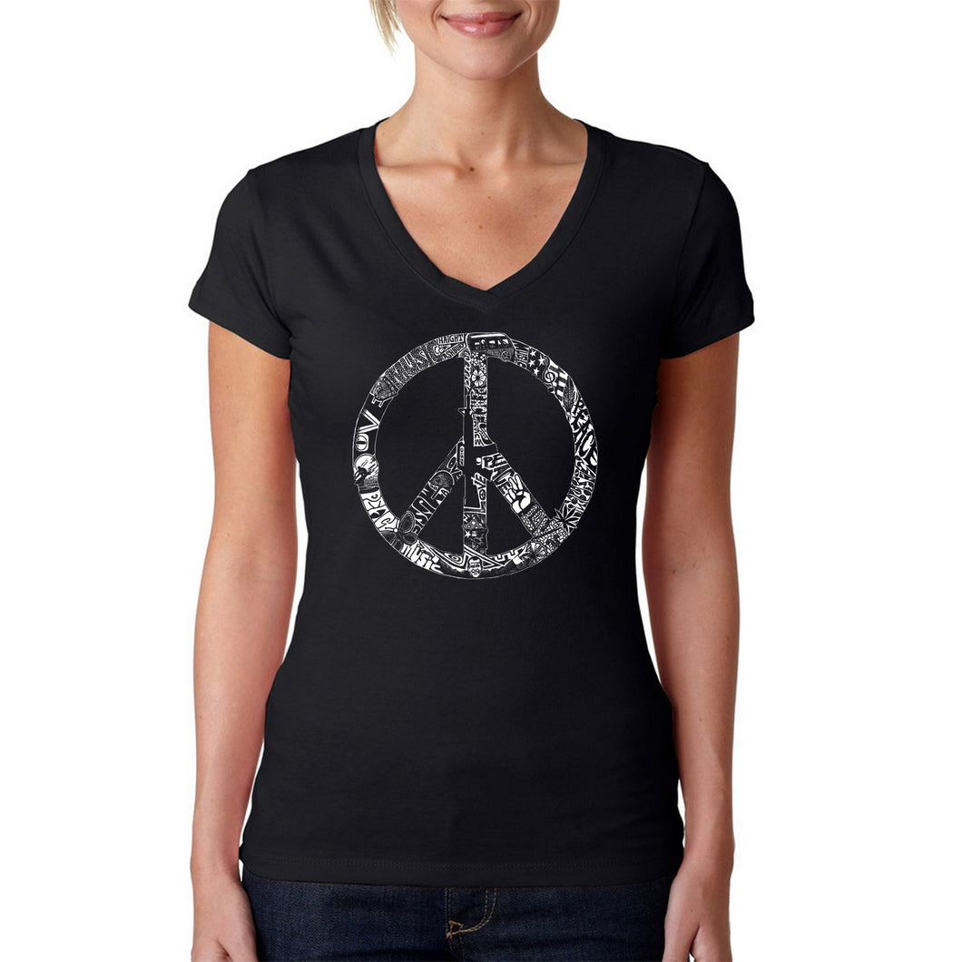 LA Pop Art Women's Word Art V-Neck T-Shirt - PEACE, LOVE, & MUSIC