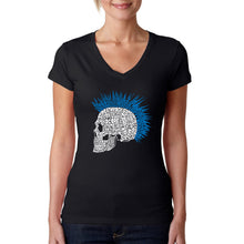 Load image into Gallery viewer, LA Pop Art Women's Word Art V-Neck T-Shirt - Punk Mohawk