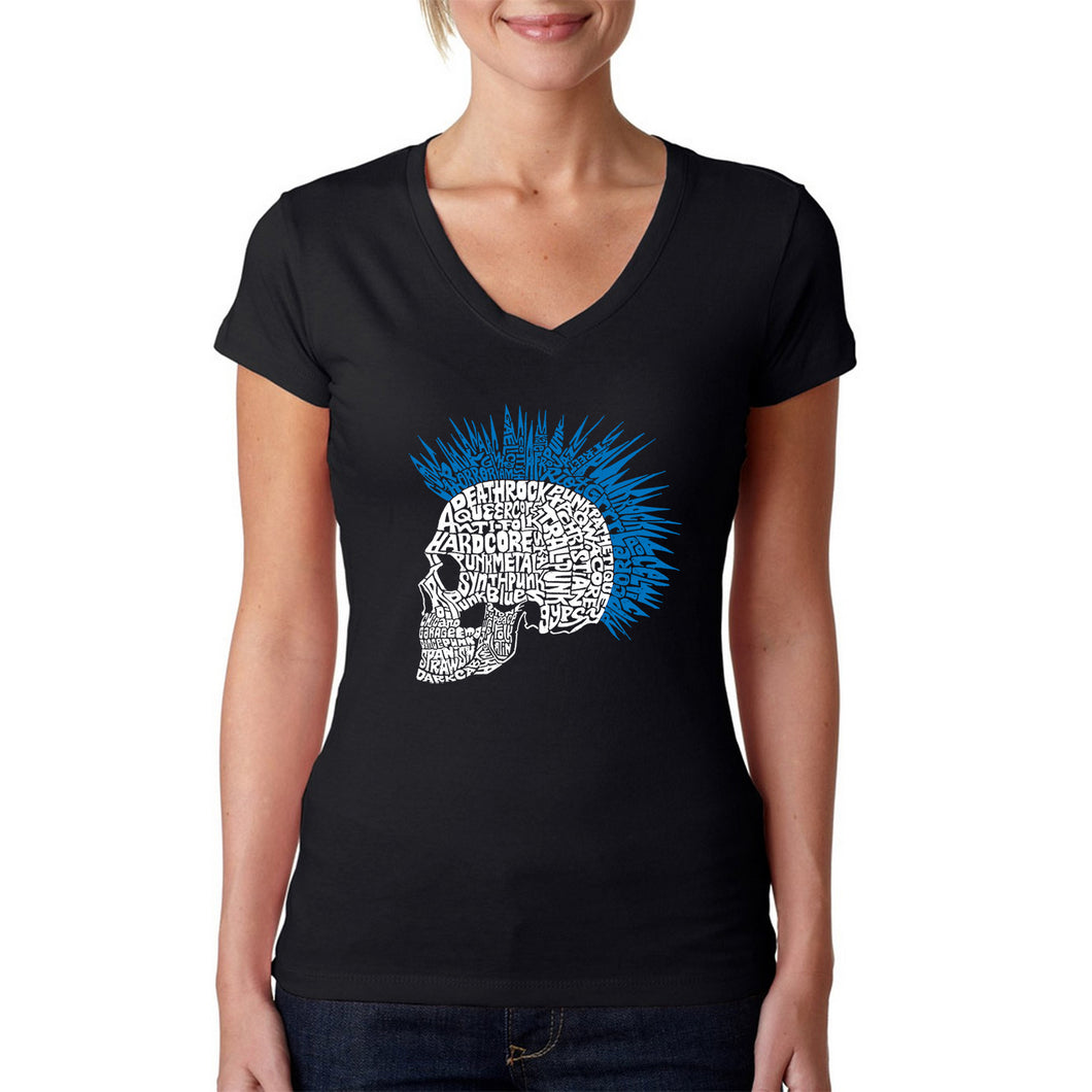 LA Pop Art Women's Word Art V-Neck T-Shirt - Punk Mohawk