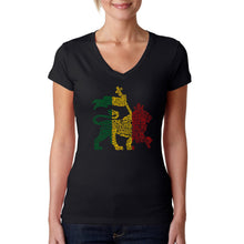 Load image into Gallery viewer, LA Pop Art Women's Word Art V-Neck T-Shirt - Rasta Lion - One Love