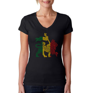 LA Pop Art Women's Word Art V-Neck T-Shirt - Rasta Lion - One Love