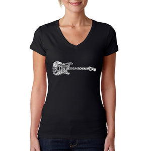 LA Pop Art  Women's Word Art V-Neck T-Shirt - Rock Guitar