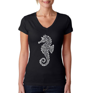 LA Pop Art  Women's Word Art V-Neck T-Shirt - Types of Seahorse
