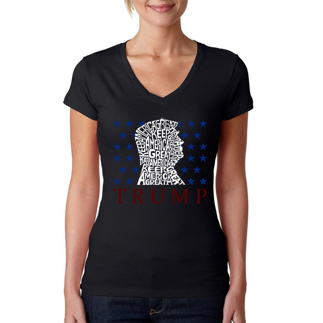 LA Pop Art Women's Word Art V-Neck T-Shirt - Keep America Great