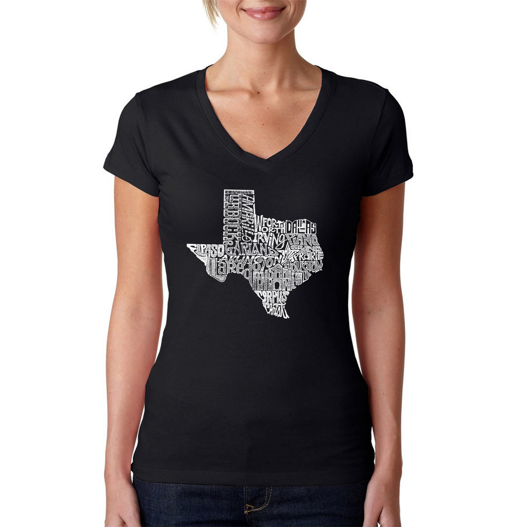 LA Pop Art Women's Word Art V-Neck T-Shirt - The Great State of Texas
