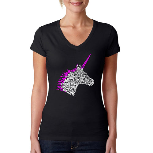 LA Pop Art Women's Word Art V-Neck T-Shirt - Unicorn