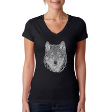Load image into Gallery viewer, LA Pop Art Women's Word Art V-Neck T-Shirt - Wolf