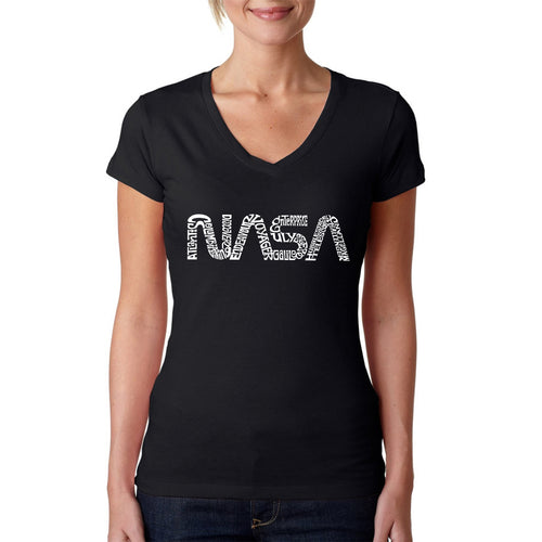 LA Pop Art Women's Word Art V-Neck T-Shirt - Worm Nasa