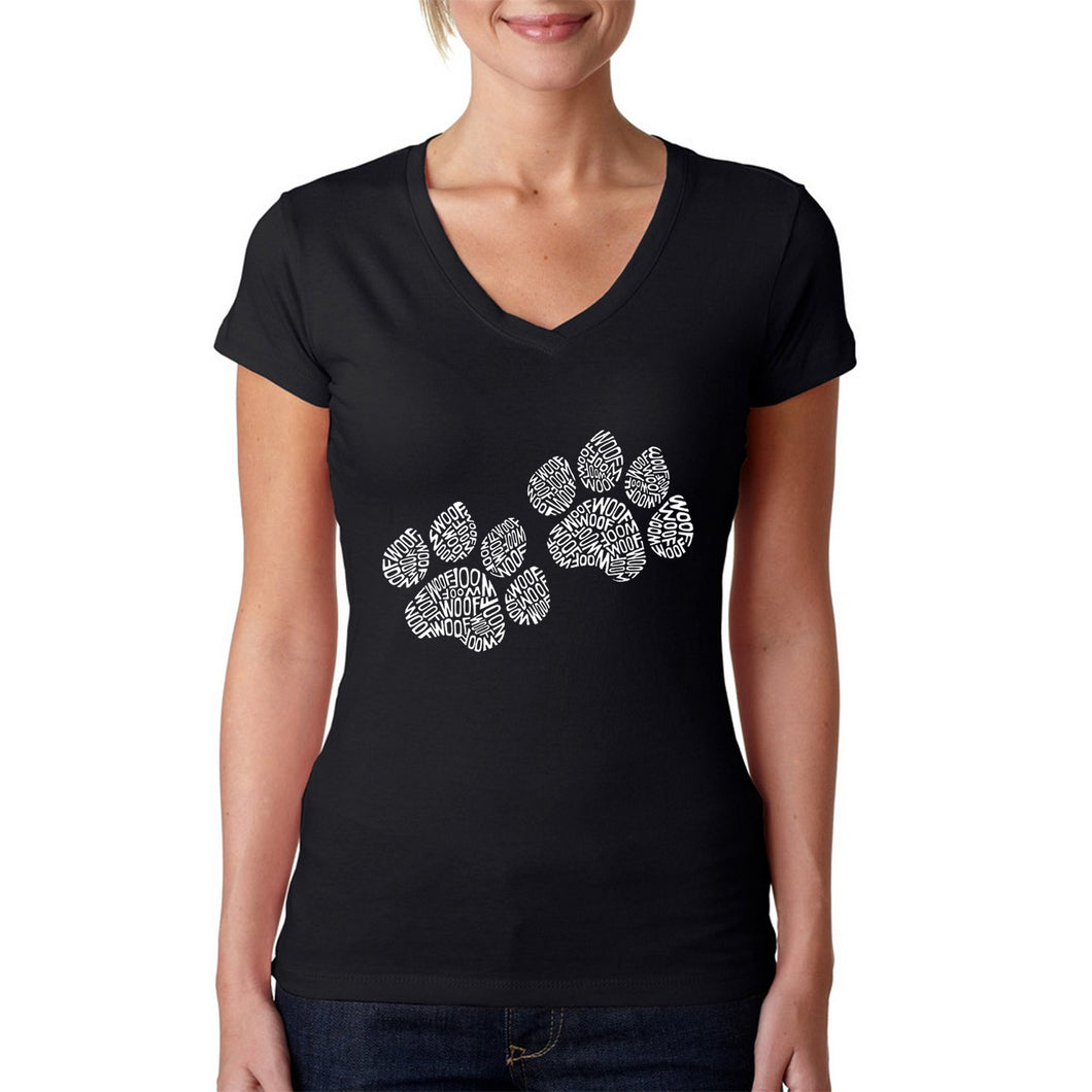 LA Pop Art  Women's Word Art V-Neck T-Shirt - Woof Paw Prints