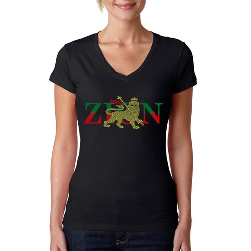 LA Pop Art Women's Word Art V-Neck T-Shirt - Zion - One Love