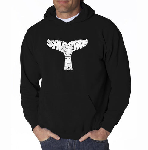 LA Pop Art Men's Word Art Hooded Sweatshirt - SAVE THE WHALES