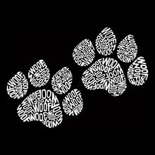 Load image into Gallery viewer, LA Pop Art  Women's Word Art V-Neck T-Shirt - Woof Paw Prints