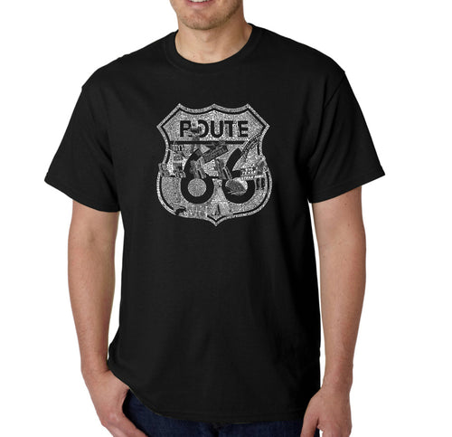 LA Pop Art Men's Word Art T-shirt - Stops Along Route 66
