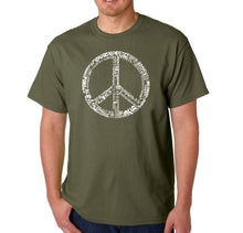 Load image into Gallery viewer, LA Pop Art Men's Word Art T-shirt - THE WORD PEACE IN 77 LANGUAGES