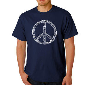 LA Pop Art Men's Word Art T-shirt - THE WORD PEACE IN 77 LANGUAGES