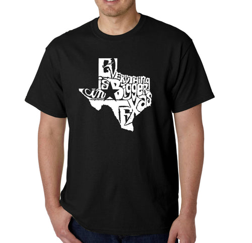 LA Pop Art Men's Word Art T-shirt - Everything is Bigger in Texas