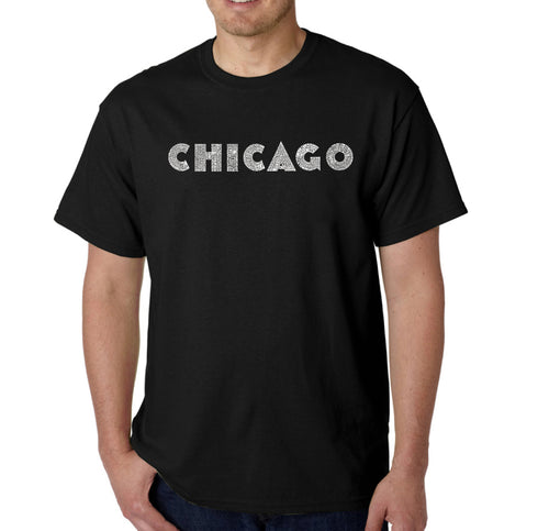 LA Pop Art Men's Word Art T-shirt - CHICAGO NEIGHBORHOODS