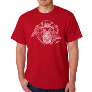 LA Pop Art Men's Word Art T-shirt - Chimpanzee