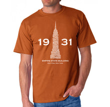 Load image into Gallery viewer, LA Pop Art Men's Word Art T-shirt - Empire State Building