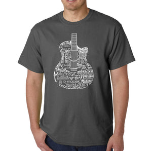 LA Pop Art Men's Word Art T-shirt - Languages Guitar
