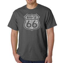 Load image into Gallery viewer, LA Pop Art Men's Word Art T-shirt - Get Your Kicks on Route 66