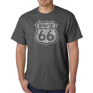 LA Pop Art Men's Word Art T-shirt - Get Your Kicks on Route 66